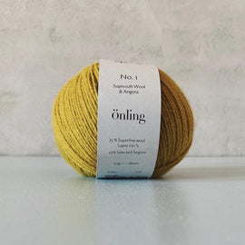 Önling No 1 is sustainable yarn made of merino wool and angora, olive yellow