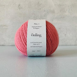 Önling No 1 is sustainable yarn made of merino wool and angora, peach pink