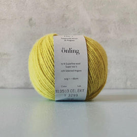 Önling No 1 is sustainable yarn made of merino wool and angora, yellow
