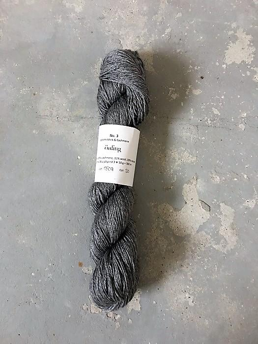 Önling No 3 soft luxury yarn made of mink, cashmere, wool and viscose - here in a medium grey