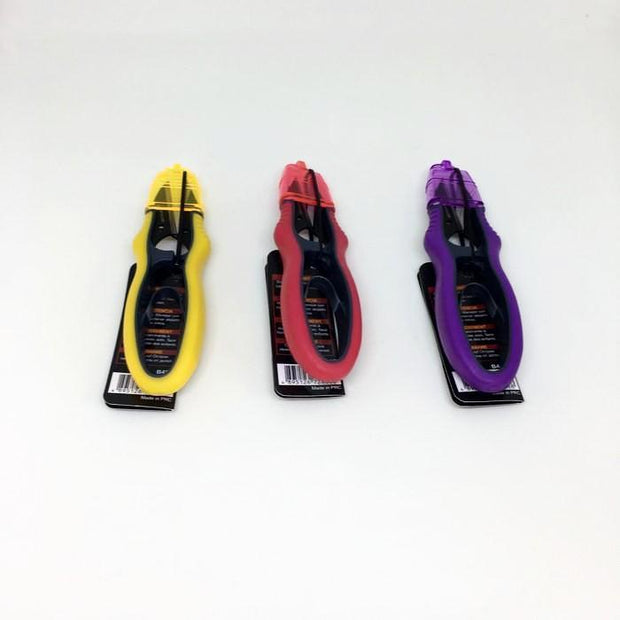 3 Small scissors for cutting yarn, yellow, red and purple