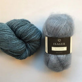 Yarn kit for Scotty sweater by PetiteKnit, Isager Yarn Spinni wool and Silk Mohair, light blue