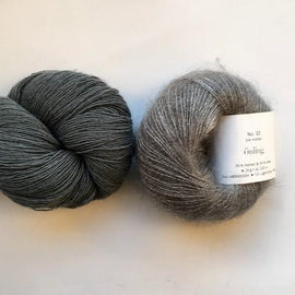 Yarn kit for Scotty sweater by PetiteKnit, Isager Yarn Spinni wool and Silk Mohair, light grey