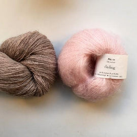 Yarn kit for Scotty sweater by PetiteKnit, Isager Yarn Spinni wool and Silk Mohair, light pink