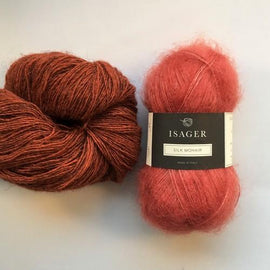 Yarn kit for Scotty sweater by PetiteKnit, Isager Yarn Spinni wool and Silk Mohair, red