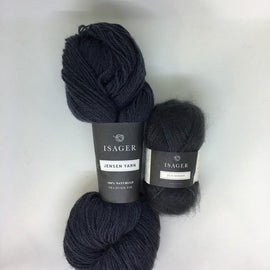 Yarn kit for Siberia anorak by Helga Isager, dark grey Isager Silk Mohair and Jensen yarn.