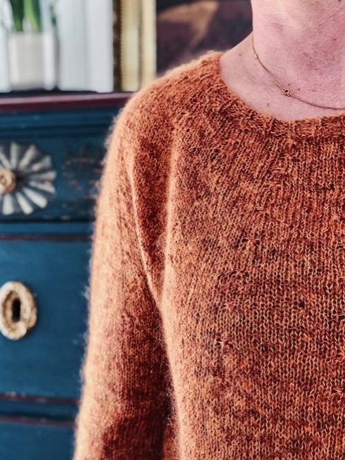 Katrine wearing silk mohair sweater closeup
