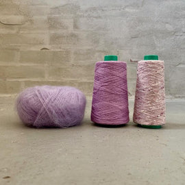 Yarn kit for silk mohair sweater in önling no 6 og 7 and silk mohair, purple