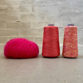 Yarn kit for silk mohair sweater in önling no 6 og 7 and silk mohair, pink