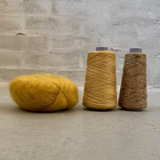 Yarn kit for silk mohair sweater in önling no 6 og 7 and silk mohair, yellow