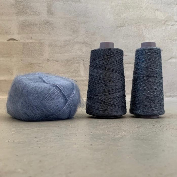 Yarn kit for silk mohair sweater in önling no 6 og 7 and silk mohair, blue