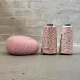 Yarn kit for silk mohair sweater in önling no 6 og 7 and silk mohair, rose