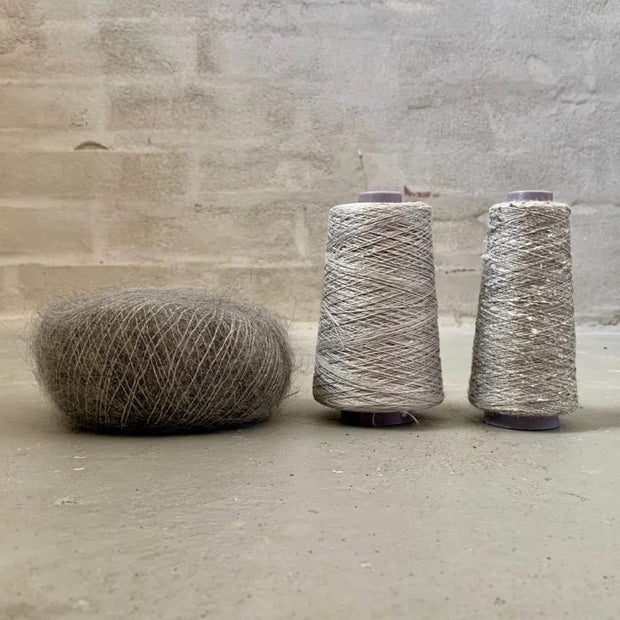 Yarn kit for silk mohair sweater in önling no 6 og 7 and silk mohair, silver grey