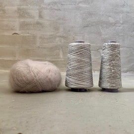 Yarn kit for silk mohair sweater in önling no 6 og 7 and silk mohair, silver