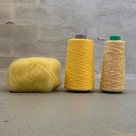 Yarn kit for silk mohair sweater in önling no 6 og 7 and silk mohair, light yellow