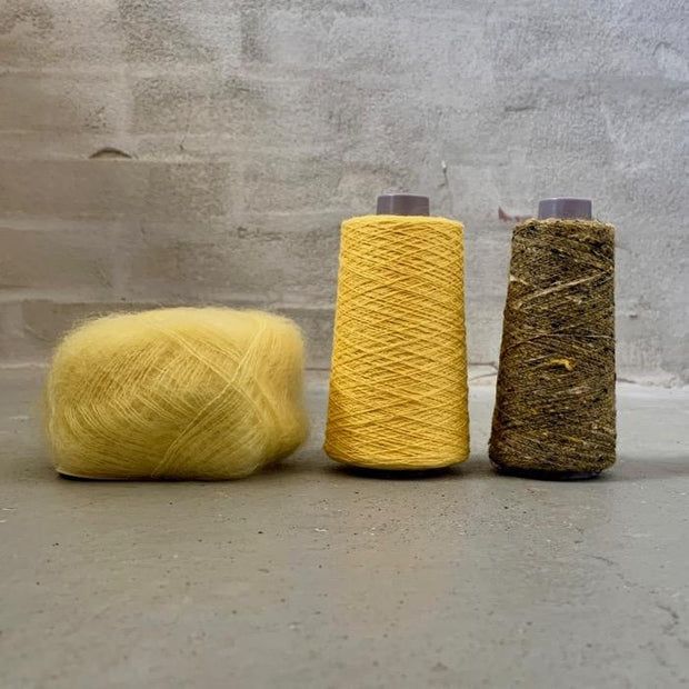 Yarn kit for silk mohair sweater in önling no 6 og 7 and silk mohair, yellow black