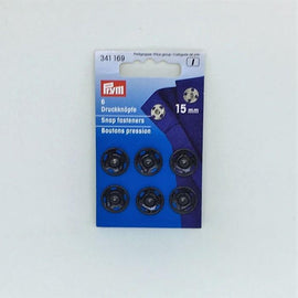 Black snap fasteners from Prym, 15 mm