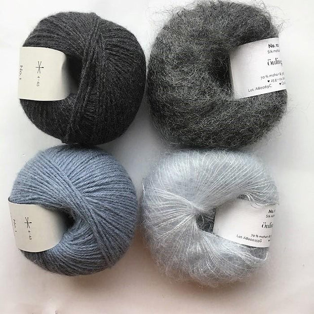 Stribekit til Scotty Sweater fra PetiteKnit, Önling No 1 og Silk Mohair i grå og blå