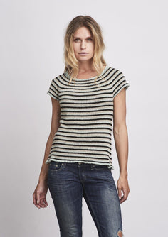 Striped summer top in black, beige and light blue, made in Isager Bomulin