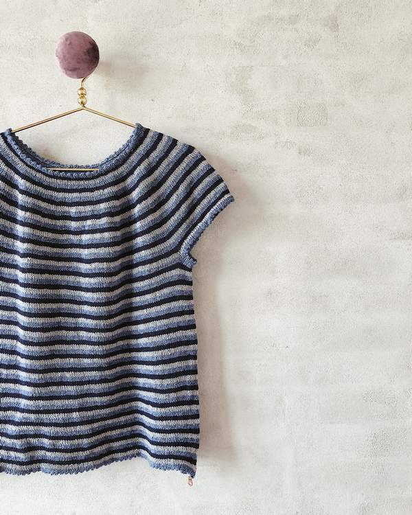 Striped summer top, summer knit in wool and cotton - Önling Nordic knitting patterns and yarn