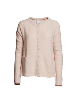 Supersoft cardigan, delicious light pink wool cardigan with dark pink/rose glitter band at the sleeve edges, the front