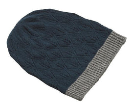 Supersoft hat, delicious petrol/dark blue wool hat with gray glitter band at the edge