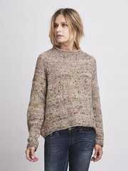 Knitted sweater with specks, beige background color and multicolored specks, knitted in Önling no 5