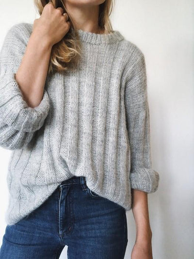 Vertical Stripes knitted sweater designed by PetiteKnit, light grey and shown on model.