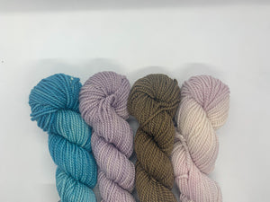 4 mini skeins of natural dyed yarn