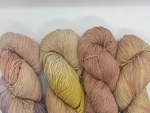 4 skeins of naturally dyed cotton/ linen yarn