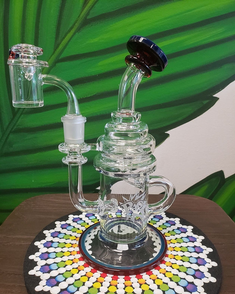 Phatt Ass Glass or PAG Recycler with double color lips and matching cap