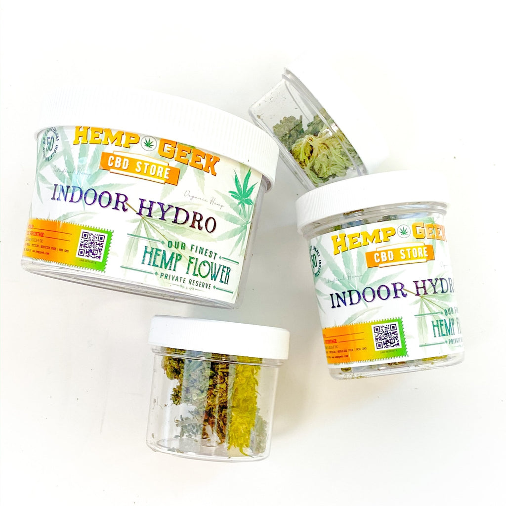 Indoor Hydro - Ultra Premium - Boutique Hemp Flower - Retail Ready Jars - hempgeek