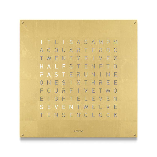 QLOCKTWO LARGE Creator's Edition Wall Clock in Gold
