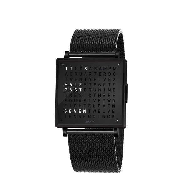 QLOCKTWO W39 39mm Black Steel Wristwatch