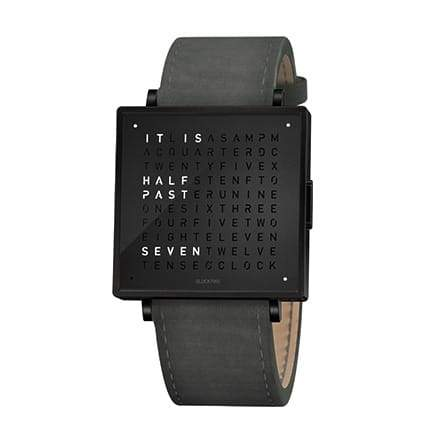 QLOCKTWO W35 35mm Black Steel Wristwatch
