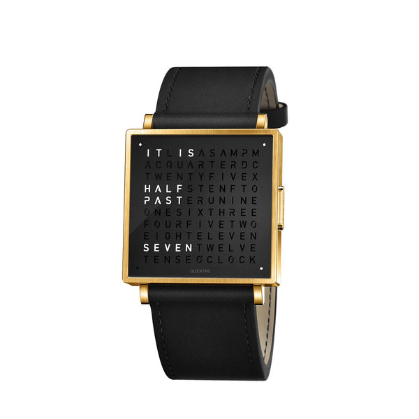 QLOCKTWO W35 35mm Gold Black Wristwatch