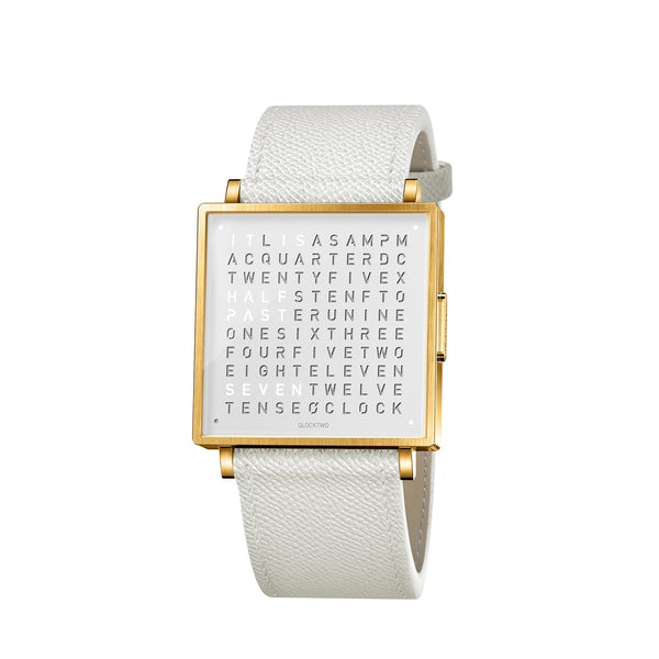 QLOCKTWO W39 39mm Gold White Wristwatch