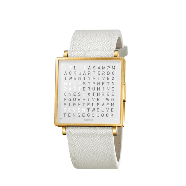 QLOCKTWO W35 35mm Gold White Wristwatch