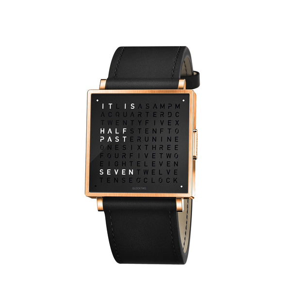 QLOCKTWO W39 39mm Rose Black Wristwatch