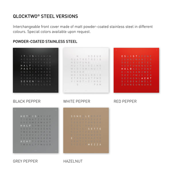 QLOCKTWO CLASSIC Stainless Steel Matt Powder Coated Accessories