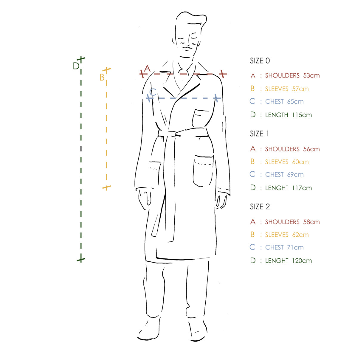 Size Guide Belted Lab Coat