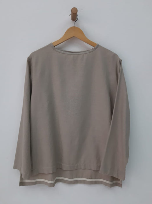 LONG SLEEVE T-SHIRT IN PUTTY