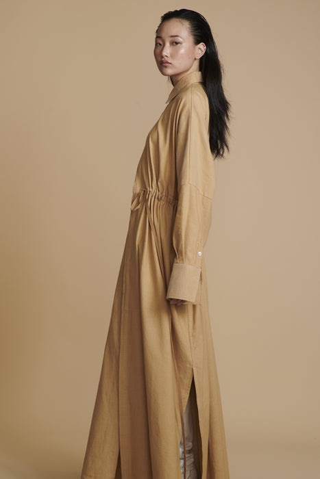 THE CHARMER DRAWSTRING SHIRT IN CAMEL