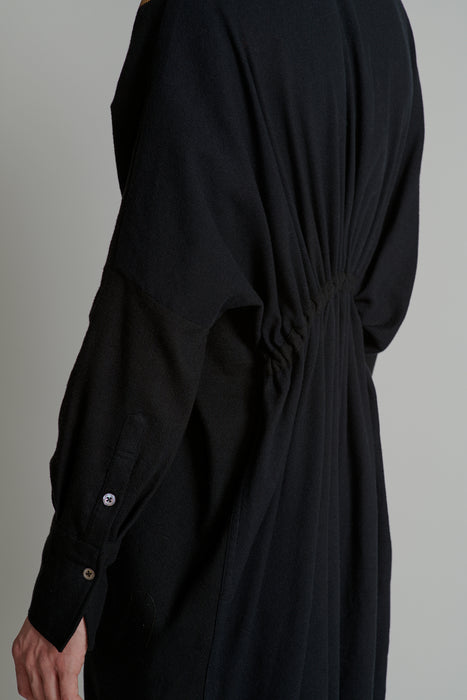 THE CHARMER DRAWSTRING SHIRT IN BLACK