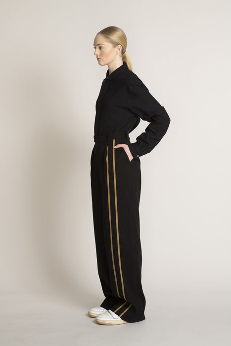 THE DREAMER HIGH WAISTED PANT IN BLACK WITH DOUBLE CAMEL STRIPE