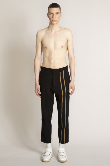 THE ORIGINATOR FLAT PANT BLACK WITH CAMEL