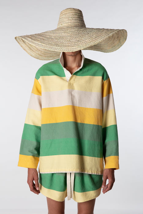 Rugby Shirt : Yellow + Green Stripes