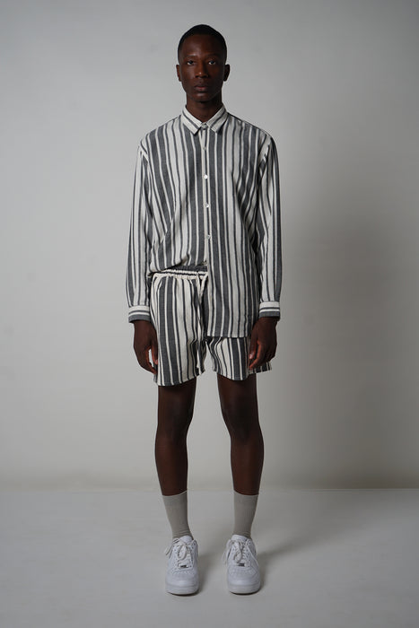BLACK + ECRU VARIED STRIPE SMALL COLLAR SHIRT