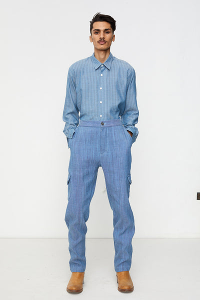 Boiler Pants in Blue Chambray