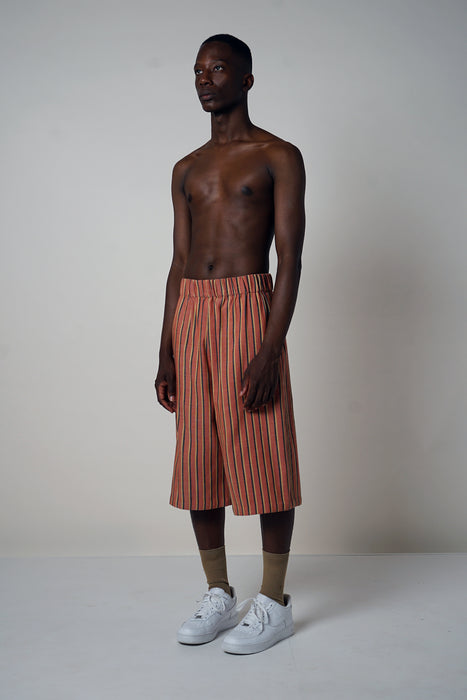 BRICK + CAMEL WIDE LEG SHORT